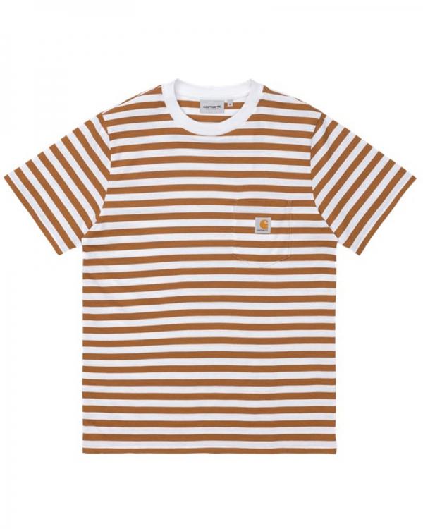 Carhartt WIP Scotty Pocket T-Shirt (scotty stripe/rum/white)