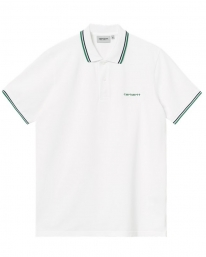 Carhartt WIP Script Embroidery Polo T-Shirt (black/white/rum)