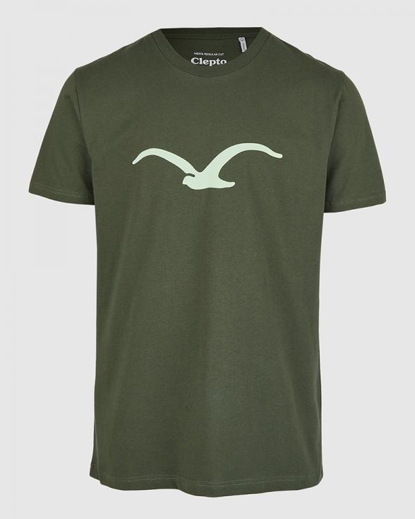 Cleptomanicx Möwe T-Shirt (scarab green)