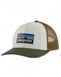 Patagonia P6 Logo Trucker Cap (white/kelp forest)