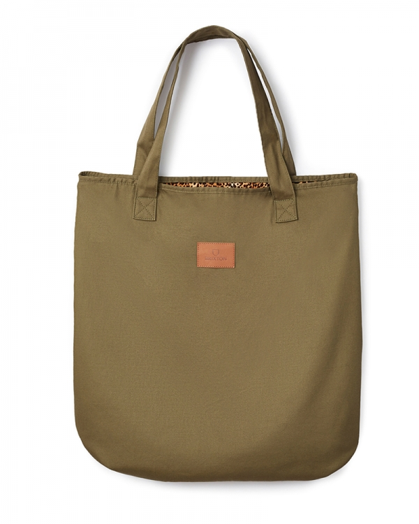 Brixton Done Proper Reversible Tote (military olive/leopard)