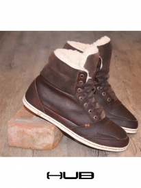 Hub Express Leather gefüttert (dark brown/white)