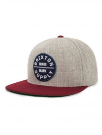 Brixton Oath 3 Cap (light heather grey/burgundy)