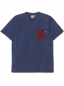 Carhartt WIP Contrast Pocket T-Shirt (blue/cranberry)